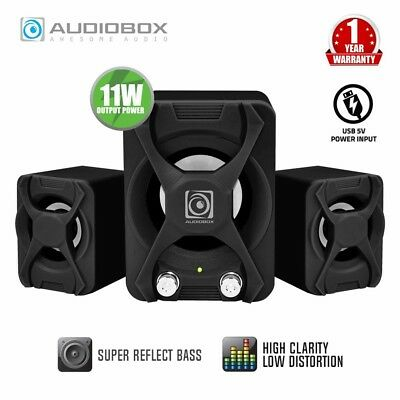 Computer Speakers Alcatroz X-Audio 2.1 USB Powered Subwoofer PC Speakers Black