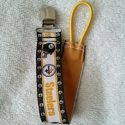Baby Soother/Pacifier Holder w/Metal Clip/Steelers