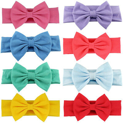 Toddler Baby Girl Kids Big Bow Hairband Headband Stretch Turban Knot Head