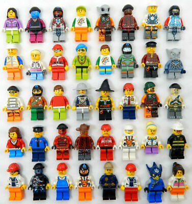10  LEGO MINIFIG PEOPLE LOT minifigure city town set random mystery selecton