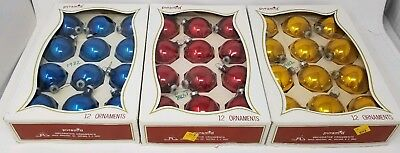 Lot of 3 VINTAGE CHRISTMAS ORNAMENTS PYRAMID BOX BLUE RED GOLD GLASS BALL