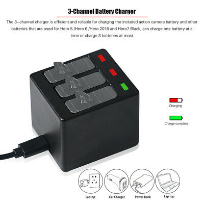3-Channel Action Camera Battery Charger with USB Cable for GoPro Hero 5