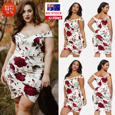 Plus Size Women Floral Bodycon Dress Cocktail Prom Party Holiday Beach Sundress