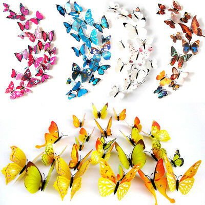 12pcs DIY Double Wings Butterfly Wall Stickers Set Simulation 3D Wall Decorative