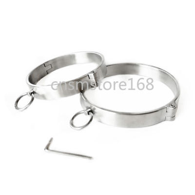 Stainless Steel Restraint Bondage Neck Collar Wrist & Ankle Cuffs Roleplay Slave
