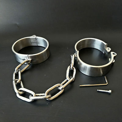 Stainless Steel Heavy Duty Small /Large Ankle Cuffs - bondage shackles restraint
