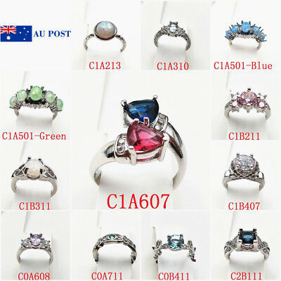 Ring Classic 925 Silver Plated Filled Zircon Crystal Engagement Wedding Gift