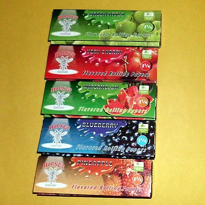 5 Fruit Flavoured Smoking Cigarette Tobacco Rolling Papers 5 Books 250 Leaves T2