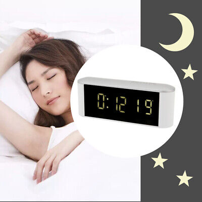 Silent Bedside Snooze Alarm Clock Thermometer Mirror Night LED Digital Clock UK