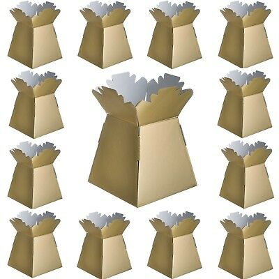 Gold - Living Vases Florist Bouquet Box Flower Plant Sweet Boxes-Choose Quantity