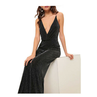 6e7cb05cebc3 V Neck Glitter Lurex Wide Flare Leg Bodycon Womens Ladies Party Black  Jumpsuit