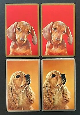 LOT of 4 Vintage Single Swap Playing Cards - Dogs Dachshund Cocker Spaniel