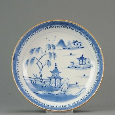 Lovely Chinese 18th C Qianlong Blue and White Plate Landscape