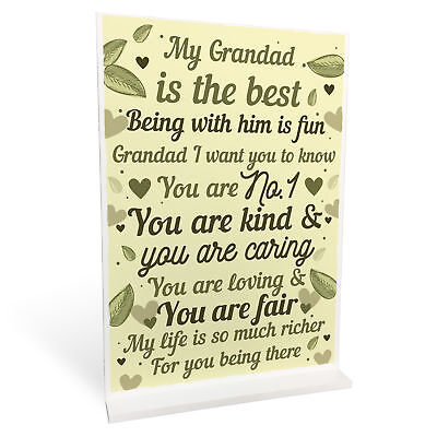 THANK YOU GIFT For Grandad Standing Plaque Birthday FATHERS Day Gifts For Dad