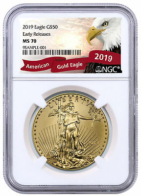 2019 1 oz Gold American Eagle $50 NGC MS70 ER Excl Eagle Label SKU56124