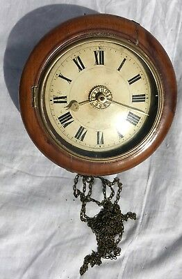 Lovely Mahogany Surround Antique Postmans Alarm Clock Striking