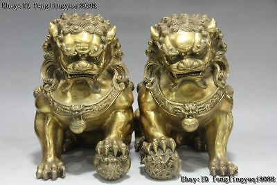 10 Chinese FengShui Copper Brass Evil Door Guardian Fu Foo Dogs Lion Statue Pair
