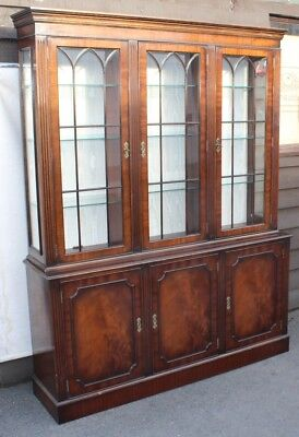 Large 1960s Mahogany 3 Door Bookcase with Glass Shelves and Keys