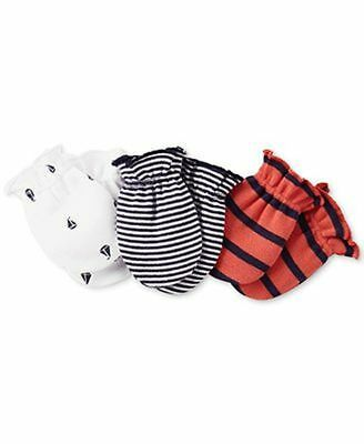 New Carter's Boys 3 Pack Baby Mittens 0-3 months NWT 100% Cotton Sailboats Navy