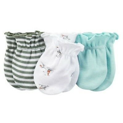 New Carter's Boys 3 Pack Baby Mittens 0-3 months NWT 100% Cotton Puppy Dogs
