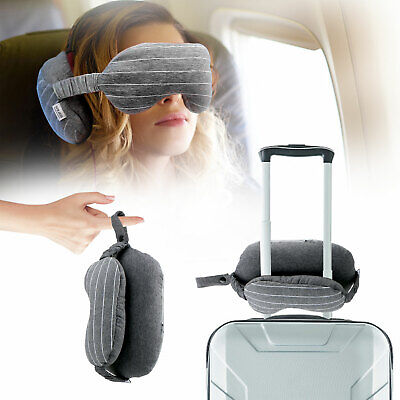 Portable Travel Neck pillow Eye Mask 2in 1 Soft Cushion Sleep Nap for Travel