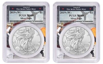 2019 1oz Silver Eagle PCGS MS69 West Point Frame - 2 Pack