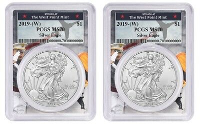 2019 1oz Silver Eagle PCGS MS70 West Point Frame 2 Pack