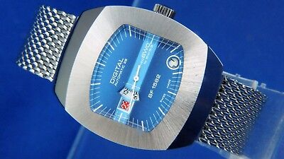 Vintage BWC BF1582 Automatic 24HR Jump Hour Swiss Watch Circa 70s NOS, Serviced