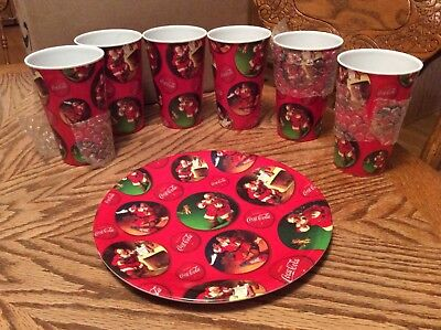 Coca Cola Santa Christmas cups and plate by Gibson