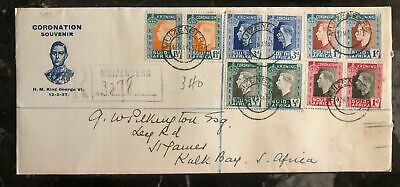 1937 Muizenberg South Africa First Day Cover FDC Coronation King George 6 KGVI