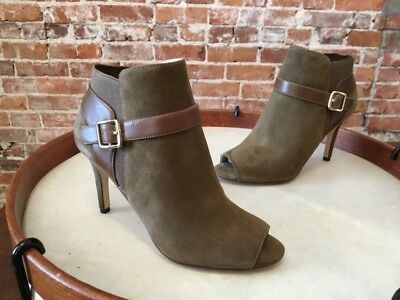 6e74ccfee Marc Fisher Olive Green Suede Shimmee Peep-Toe Ankle Boots Bootie NEW