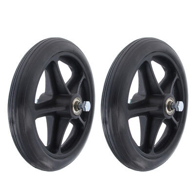 2x Professional Wheelchair Front Castor Wheels Replacement Part Black 7 inch