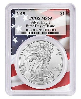 2019 1oz Silver Eagle PCGS MS69 First Day Issue Flag Frame