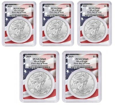 2019 1oz Silver Eagle PCGS MS69 First Day Issue Flag Frame - 5 Pack