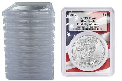 2019 1oz Silver Eagle PCGS MS69 First Day Issue Flag Frame - 10 Pack