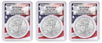 2019 1oz Silver Eagle PCGS MS70 First Day Issue Flag Frame 3 Pack