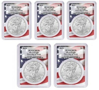 2019 1oz Silver Eagle PCGS MS70 First Day Issue Flag Frame 5 Pack
