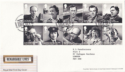 (23111) GB FDC Remarkable Lives Tallents 25 March NO INSERT