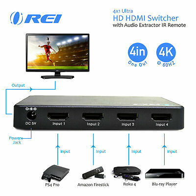 OREI 4x1 Switcher with Audio Extractor -Supports 4K @ 60Hz (4 Input,1 Output)