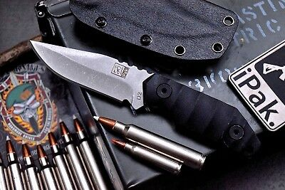 CFK IPAK Custom CNC STONE WASH D2 G10 Hunting Tactical Knife Kydex Set IPAK-16