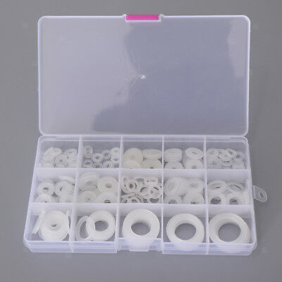 250Pcs [15-SIZE] White Nylon Washer Flat Washers Gaskets Seal Assortment Set