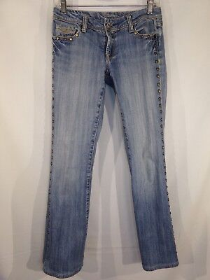 c1c46a4176922 YANK WOMEN S STUDDED Low Rise Jeans Boot Cut Flare Embellished Size 26  Stretch