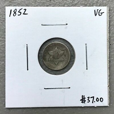 1852 U.s. Three 3 Cent Silver ~ Very Good Condition! $2.95 Max Shipping! C975