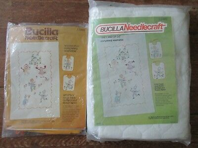 Bucilla Nursery Wizard of Oz Embroidery Quilt Crib Cover Kit Stamped 2483 Bibs