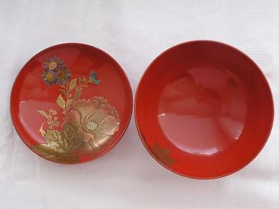 Antique Japanese lacquer and MOP chawan (lidded bowl) 1900-12 handpainted #3642B