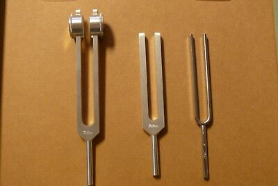 Tuning Forks; Miltex,set Of 3: C-128; C512; C256;medical Grade Aluminum; Un-Used