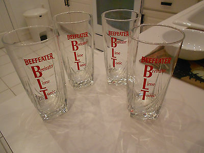 "(4) Beefeater Gin///lime///tonic Tumblers/highball-Excellent-6"" Tall"