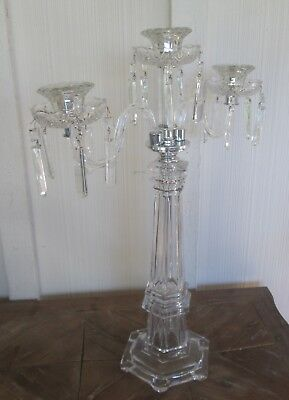 Modern Candelabra Candlestick Holder Crystal 3 Arm Prisms Germany Wedding 24""