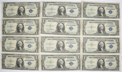 Lot of 12 1935A Series $1 Silver Certificate Small-Size Dollar Crisp