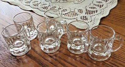 Set/6-Vintage Federal Glass Clear Beer Mug Shot Glasses/Toothpick Holders